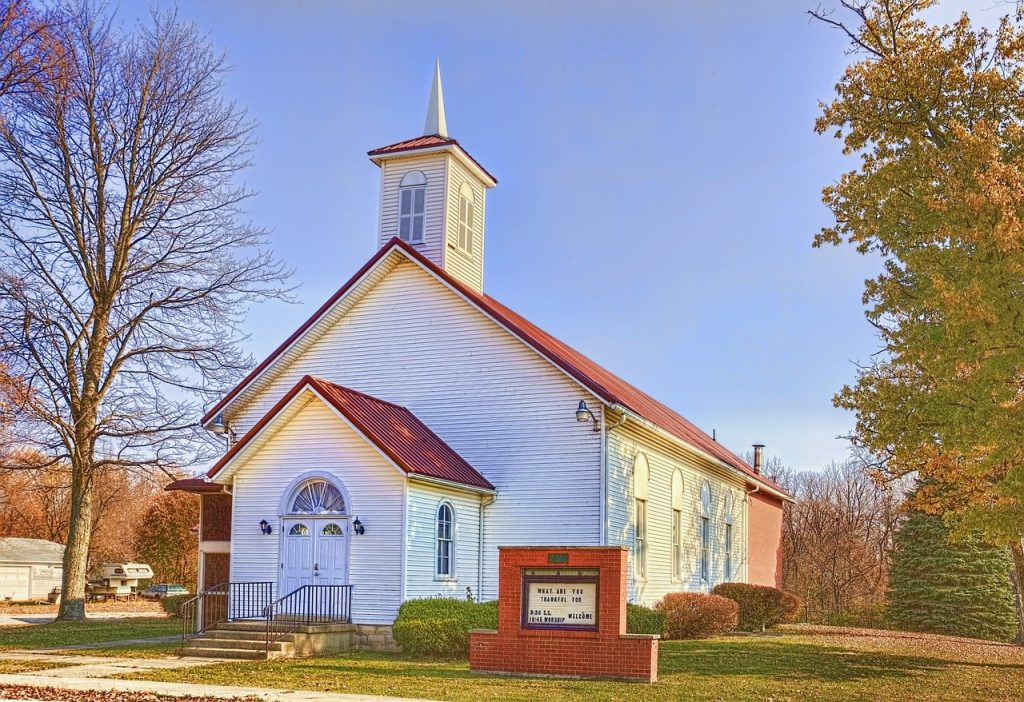 country church, scenery, trees